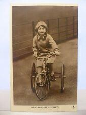 UNPOSTED B & W PHOTO POSTCARD H.R.H. PRINCESS ELIZABETH ON TRICYCLE    1580682