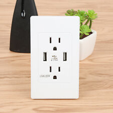 US Plug 2.1A Dual USB Port Outlet Power Charger Wall Socket with Dual Switch TOP