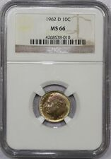 1962 D ROOSEVELT SILVER DIME MS 66 NGC - W/ NICE COLOR!!