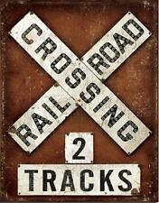 Railroad Crossing 2 Tracks RR Train Weathered Look Retro Metal Tin Sign USA Gift