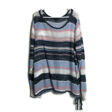 Torrid 5 Shirt Top Blouse Soft Knit Sweater Blue Pink White Striped Scoop Neck