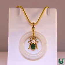White & Green Jade Pendant with Cultured Pearl Spider design in 14k Yellow Gold