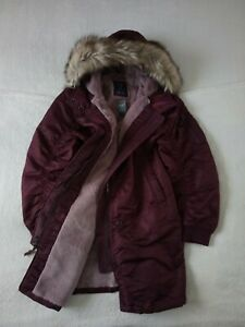 Womens Abercrombie & Fitch Shiny Nylon Parka Water Resistant Fur Jacket Size XL