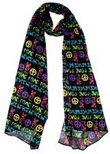 Peace Print Scarf, Quirky Hippy Peace and Love Scarf , Print Ladies Scarf