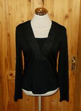 TAIFUN black beaded chiffon trim long sleeve tunic top squared v neck 12 40
