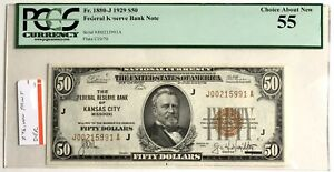 1929 $50 FRBN Kansas City MO Fr 1880-J JA Block PCGS 55 About UNC Choice New