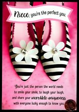 Birthday Hallmark Striped Flat Shoes Flower Jewel For Niece - Greeting Card New