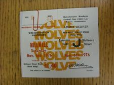06/11/1976 Ticket: Wolverhampton Wanderers v Millwall (Complete). This item has
