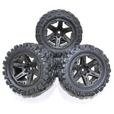 Traxxas Rustler 4x4 Front Rear Wheels Rims Tires Black Talon VXL XL5