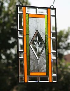 Pumpkin Spice Everything Nice -Stained Glass Window Panel Beveled 22.5x14.5