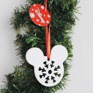 DISNEY Figur Keramik Ornament * MICKEY  Kopf Schneeflocke Christbaum Weihnachten