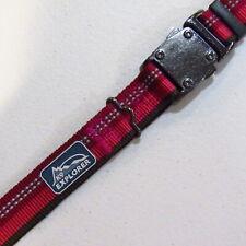 """Large Adjustable Reflective K9 Explorer Dog Collar 18"""" 26"""" 1"""" Wide Red NOS"""