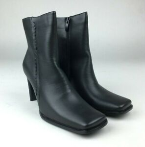 WOMENS LADIES HIGH HEEL ZIP UP SQUARE TOE WORK ANKLE BOOTS SHOES SIZE UK 5