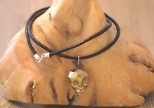 Gold titanium crystal 3D skull head pendant on black leather and silver necklace