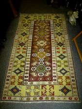 Beautiful Large Woven Lemon Yellow Wool Woollen fringed Rug Hand Knotted
