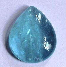 53Ct Natural Blue Aquamarine Brazil Cabochon Loose Gemstone 32X26.5mm Pear S734