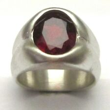 MJG STERLING SILVER MEN'S RING. 12 x 10mm OVAL LAB FACETED GARNET. SIZE 9.