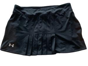 Women's L UNDER ARMOUR Tennis Golf Skirt Black Skort Shorts Pleated Front