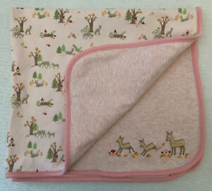 GYMBOREE Autumn Forest Baby Blanket Pink Deer Gnomes Trees Woodland 2007 HTF