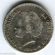 Alfonso XIII 50 Centimos 1894 Bucles @ Bella @