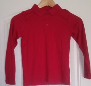 George Boys School Uniforms Long Sleeve Polo Shirt Red Size Small 6-6X
