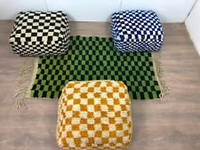 Moroccan checkered pouf, checkerboard square floor cushion, Berber Ottomans