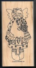 FLOWERS GARDEN ANGEL LOVE Heart BASKET BOUQUET Stampin' Up! LARGE RUBBER STAMP