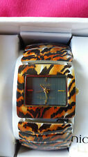 SALE!!! NICOLE MILLER LADIES' TIGER  ANIMAL PRINT ENAMELED STRETCH BAND  WATCH