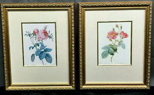 Pair VTG Gorgeous Floral Prints - ROSES - Prof.-Framed Repro of Victorian Litho