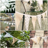 3m Vintage Hessian Lace Garden Bunting Rustic Flag Banner Burlap Wedding Party