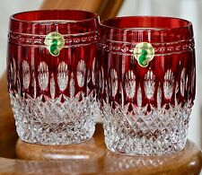 WATERFORD CLARENDON DOF ROCKS GLASSES, RUBY RED CASED CRYSTAL (Pair)