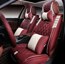 Universal Car Seat Cover Cushion Headrest Front+Rear 5 Seats Luxury Leather 20pc
