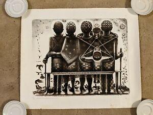 "John T. Biggers ""Brown Black Family"" print signed #'d litho African American Art"