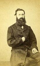Man Sitting Fashion Paris Early Studio Photo Jalabert Old CDV 1860