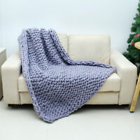 Handmade Large Luxury Chunky Knit Blanket Wool Thick Yarn Knitted Throw Bed