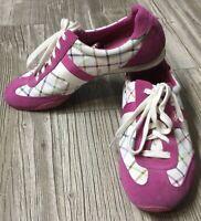 Coach Women's Pink Suede Stripe Casual Sneaker Tennis Shoes Kinsley Size 9 M