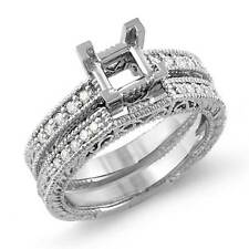 0.25Ct Princess Setting Engagement Diamond Bridal Set Ring 14K White Gold SZ 6.5