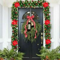 9FT Christmas Garland with LED Lights Door Wreath Xmas Fireplace DIY Decor US
