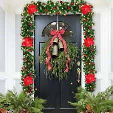 9FT Christmas Garland with LED Lights Door Wreath Xmas Fireplace DIY Decor US