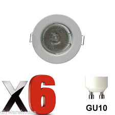 6 X  GU10 DOWNLIGHT MAINS 240V WHITE RECESSED SPOTLIGHT HALOGEN LED DOWNLIGHTS