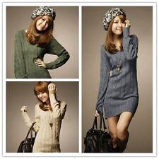 PD: Damen Kleider Strickkleider Langshirts Sweater Tunika Mini Unifarbe M6637