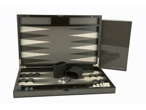 "Dal Rossi Luxury 18"" 45 cm Carbon Fibre Finish Backgammon Set NEW!"