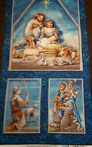 New - 100% Cotton Fabric Panel  Christmas Nativity Scene - L 112 cm x W 60 cm