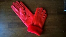 bright red ladies women 100% genuine real leather sheepskin gloves mittens