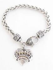 Grandma Nana Grandmother Silver Lobster Claw Bracelet  Heart Jewelry