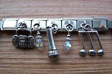 Handcrafted Microphone Music Note Charm Key Ring