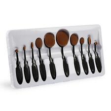 New 10Pcs Professional Makeup Brushes Set Oval Cream Puff Toothbrush Brush Black