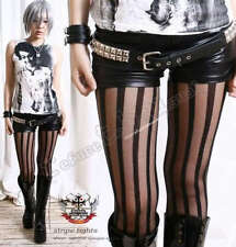 Punk Rock Goth EMO Opaque Sheer Translucent Stripe Vertical Line Pantyhose