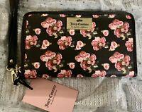 Juicy Couture Black Pink Floral Rose Wristlet Wallet