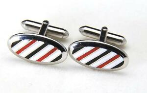 Vintage Swank Stainless Steel Black White & Red Enamel Striped Oval Cufflinks